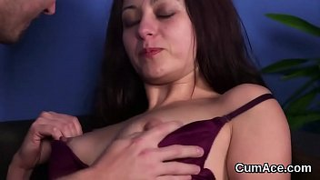 Sexy honey gets cum shot on her face eating all the spunk