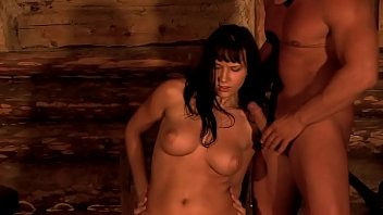 Young waitress is used by two stranges and covered with cum