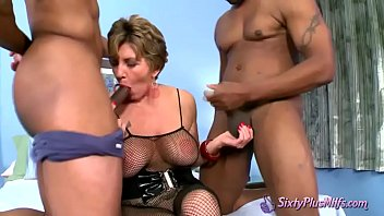 MMF threesome with two black guys and granny