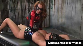 Bat Girl Kendra James Binds & Dildos CatGirl Nikki Brooks!