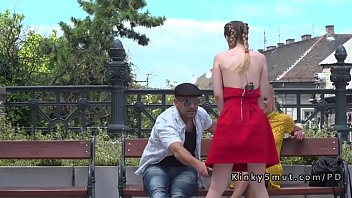 Natural busty slave banged in public