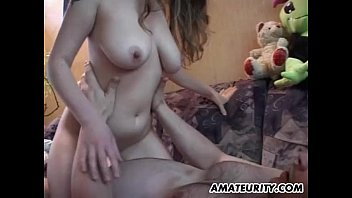 Busty amateur teen girlfriend sucks and fucks with cum
