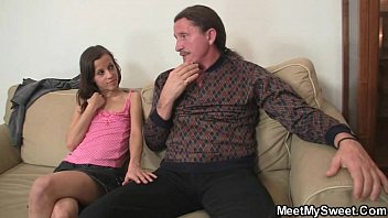 His GF rides old dad'_s cock!