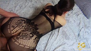 Brunette Blowjob Dick and Hard Doggy Sex in Grid Lingerie