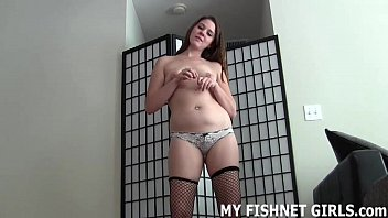 Rub your rock hard cock on my silky fishnets JOI