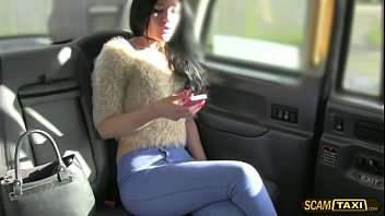 Brunette babe Carmel gets comforted by a big cock cab driver