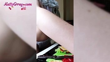 Horny Tattooed Teen Passionate Fingering in the Morning While Cooking صورة