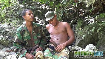 Army twink Two gis call a halt for a sloppy blowjob