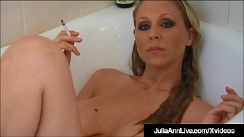 Girl in hot tub naked Hot busty milf julia ann smokes cigs nude in bathtub