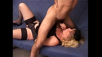Blonde mature chick Sara in stockings get good fuck in room from hot cock