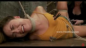 Gagged and tied up girl is shocked