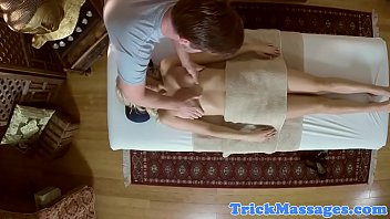 Amateur babe massaged and pleasured