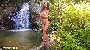 Tiny Brunette Posing Naked in the Forest - Sweetbuttocks