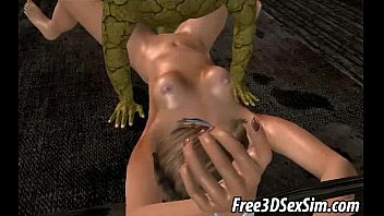 Fucked by monsters - Two 3d cartoon honeys getting fucked by monsters
