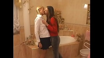 Charming European girls Gina Pearl and  Simony decided to take bath together to get ready better for their exam in French
