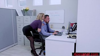 Busty BBC lover bitch double penetrated in the office