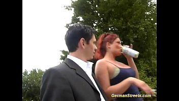 Busty redhead movies - Busty german redhead in outdoor threesome