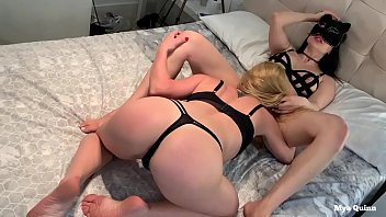 Blonde and brunette lesbian friends licking pussy and feet - Mya Quinn