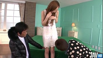 Erena Aihara looks so sweet in a cream lace dress with panties that match