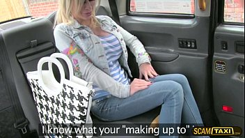 Hot blonde babe with a huge tits rides drivers big hard cock