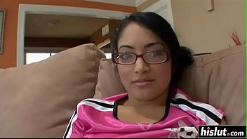 Hairy nerdy teen gets a deep creampie