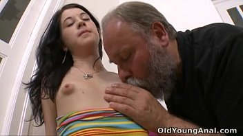 Small old sexy breasts Olga has her breasts licked by older man
