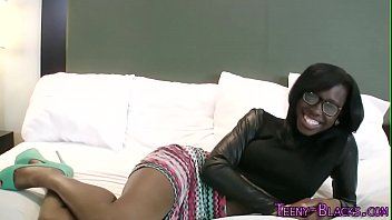 Ebony teenager face jizz