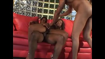Marvellous black woman Yasmine Pendavis get two black cocks simultaneously in the club