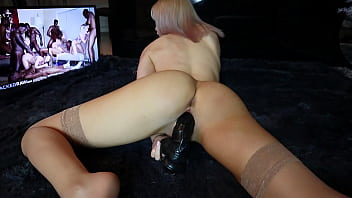 Stretching Pussy with Favourite Toy. Cute Blonde Watching BBC Porn