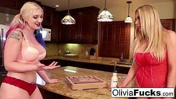 Olivia anally violates late pizza delivery girl Leya!