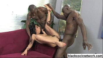 Three way sexual act in french Interracial anal with 2 big black cocks