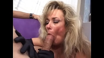 An old milf  polishes a dick off clean