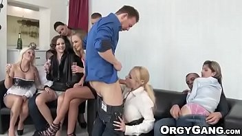 Hotties suck fat dicks and enjoy rough anal fucking at a party