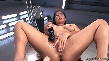 Busty Asian takes dp fucking machine