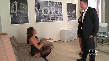 Busty cock crazed secretaries drilled by the Boss thumbnail