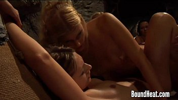 Lesbian Mistress Penetrating In Wet Slaves Pussy With Strapon