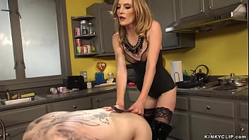 Blonde pegging and fisting tattooed man