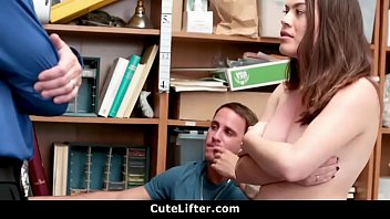 Shoplifter With Braces Fucked In Front of BF