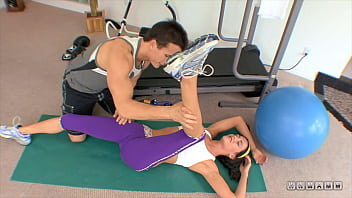 Hot brunette gets good fuck with her fitness trainer