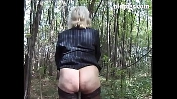 Old granny amateur homemade - Mature blonde caught pissing in a wood and fucked