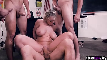 Busty teacher with big tits getting so many cocks to plesure