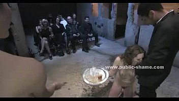 Petite Whore Is Gagged And Collared While To Do Excercises For A Public