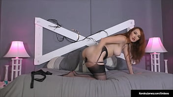 Hot Redhead Kendra James Stretches Her Butthole And Pussy In Hose!