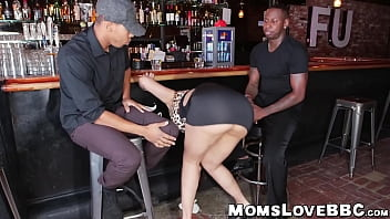 Bartending MILF fucking kind curves tag teamed by black studs