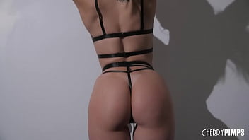 Charlotte Sins Strips in Black Lingerie Showing Off All Natural Tattooed Body Before She Masturbates
