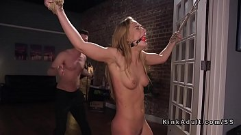 Bound girlfriend flogged and anal fucked