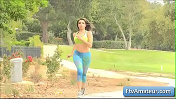 Sexy natural big tit brunette amateur Darcie play with her big boobs in the woods and goes for a jog