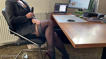 Adult assistance Business woman dildo play in home office, business bitch