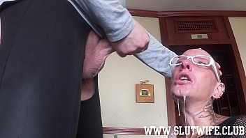 Bald slut Submissive bald headed slave girl enjoys a brutal sloppy facefuck
