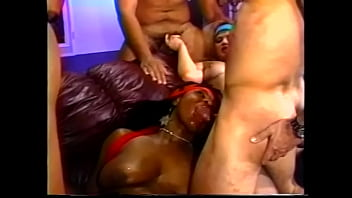 Curvy ebony and blonde whore get their pussy pounded hardcore by a group of studs
